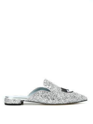Chiara Ferragni: mules shoes - Logomania silver glitter mules