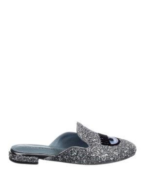Chiara Ferragni: mules shoes - Logomania silver glittered mules