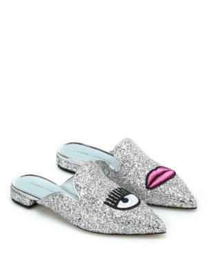 Chiara Ferragni: mules shoes online - Logomania silver glitter mules