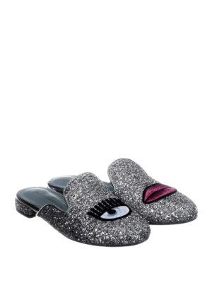 Chiara Ferragni: mules shoes online - Logomania silver glittered mules