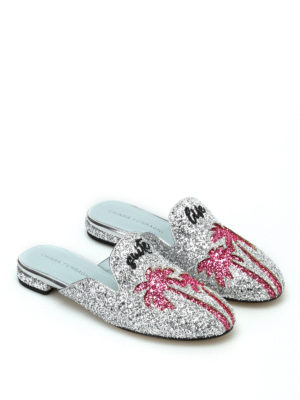 Chiara Ferragni: mules shoes online - Suite Life silver glitter mules