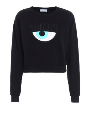 Chiara Ferragni: Sweatshirts & Sweaters - Eye embroidery crop sweatshirt