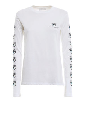 CHIARA FERRAGNI: t-shirt - T-shirt Logomania bianca a maniche lunghe