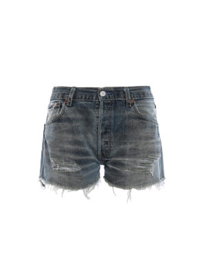 Chiara Ferragni: Trousers Shorts - Palma print cotton denim short