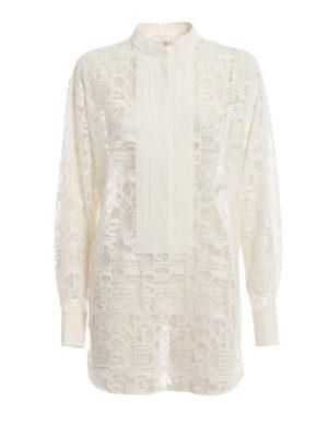 8ed3629e339891 CHLOE': bluse - Blusa in tulle con logo ricamato all over