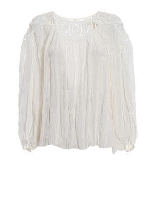 CHLOE': bluse - Blusa in lino con guipure in cotone