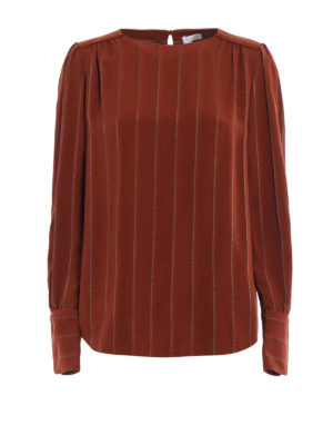 Chloe': blouses - Lurex striped jacquard blouse