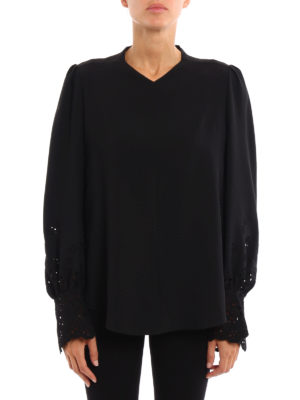 Chloe': blouses online - Broderie anglaise detailed blouse