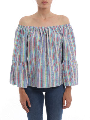 Chloe': blouses online - Striped off the shoulder blouse