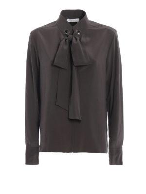 CHLOE': bluse - Blusa crepe de chine occhielli e lavallière