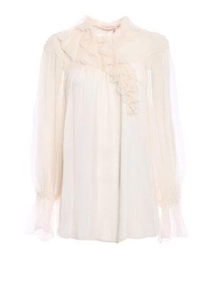 CHLOE': bluse - Blusa in seta goffrata con volant