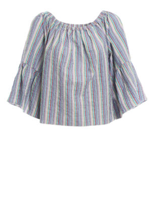 Chloe': blouses - Striped off the shoulder blouse