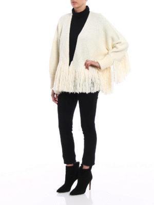 Chloe': cardigans online - Virgin wool fringed cardigan
