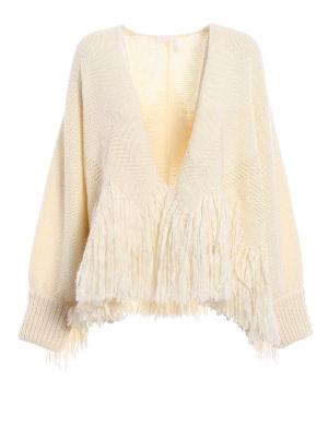 Chloe': cardigans - Virgin wool fringed cardigan