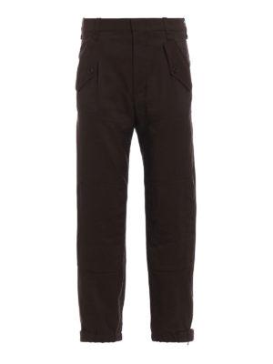CHLOE': pantaloni casual - Pantaloni cargo marroni in misto lana
