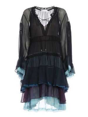 Chloe': cocktail dresses - Flounced long sleeves silk dress
