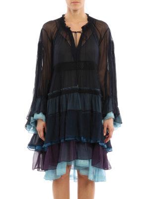 Chloe': cocktail dresses online - Flounced long sleeves silk dress