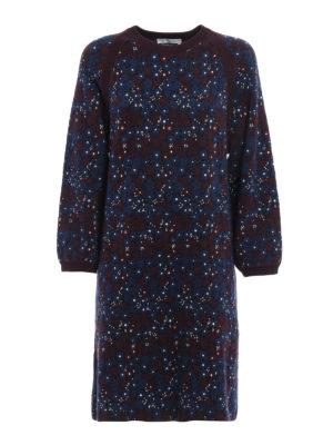 Chloe': knee length dresses - Floral jacquard cotton dress