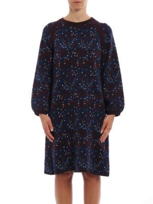 Chloe': knee length dresses online - Floral jacquard cotton dress
