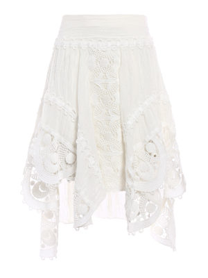 Chloe': Knee length skirts & Midi - Linen and macramé asymmetric skirt