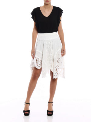 Chloe': Knee length skirts & Midi online - Linen and macramé asymmetric skirt