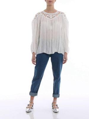 CHLOE': bluse online - Blusa in lino con guipure in cotone