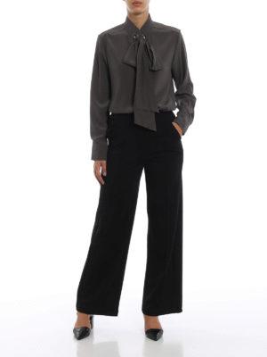 CHLOE': bluse online - Blusa crepe de chine occhielli e lavallière