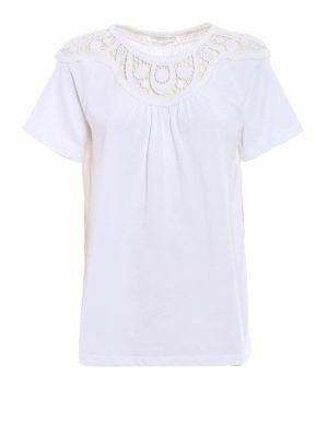 CHLOE': t-shirt - T-shirt boxy con inserto in macramè
