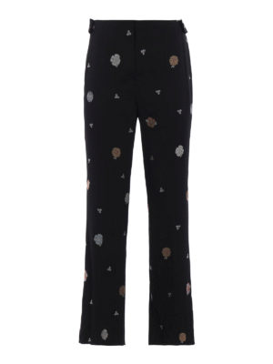 Chloe': Tailored & Formal trousers - Floral embroidered cady trousers