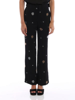 Chloe': Tailored & Formal trousers online - Floral embroidered cady trousers