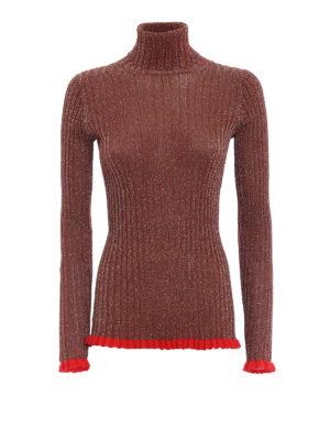 CHLOE': maglia a collo alto e polo - Dolcevita slim a coste con inserti in lurex