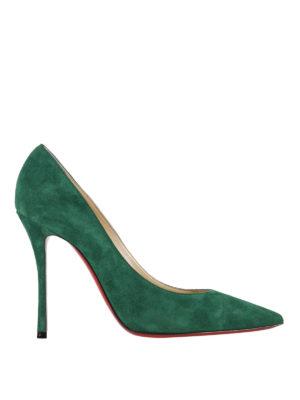 Christian Louboutin: court shoes - Decoltish green suede pumps