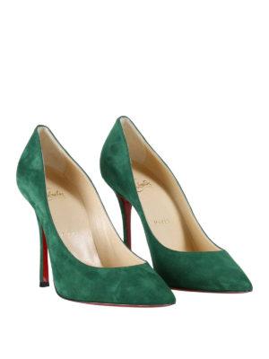 Christian Louboutin: court shoes online - Decoltish green suede pumps