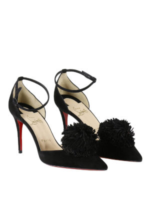Christian Louboutin: court shoes online - Tsarou pom pom d'Orsay suede pumps
