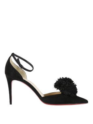 Christian Louboutin: court shoes - Tsarou pom pom d'Orsay suede pumps