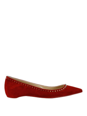 Christian Louboutin: flat shoes - Anjalina spike trim red suede flats