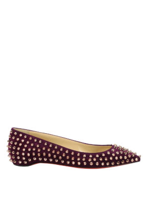 Christian Louboutin: flat shoes - Follies Spikes suede flats