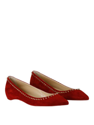 Christian Louboutin: flat shoes online - Anjalina spike trim red suede flats