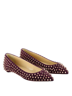 Christian Louboutin: flat shoes online - Follies Spikes suede flats