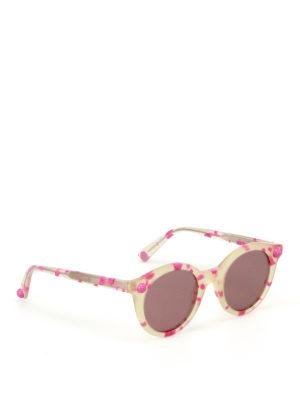 Christopher Kane: sunglasses - Fuchsia havana round sunglasses