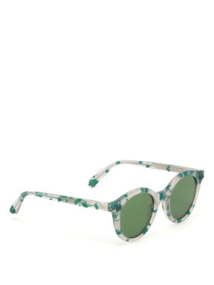 Christopher Kane: sunglasses - Green havana round sunglasses