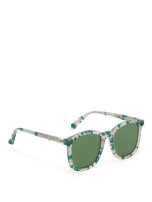 Christopher Kane: sunglasses - Green havana square sunglasses