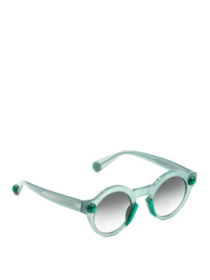 Christopher Kane: sunglasses - Round shape pale green sunglasses