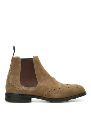 Church's: ankle boots - Ravenflied suede brogue booties