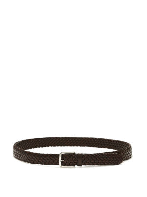 Church's: belts - LOGO DETAIL LEATHER BRAIDED BELT