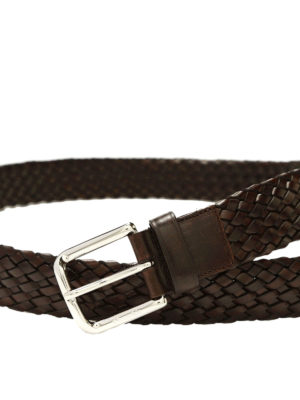 Church's: belts online - LOGO DETAIL LEATHER BRAIDED BELT