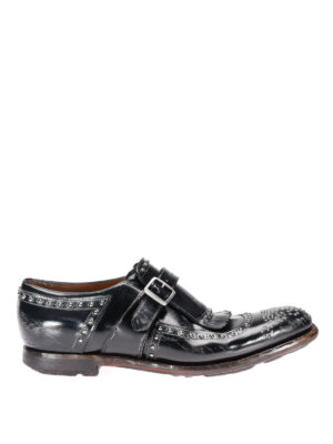 Church's: classic shoes - Studded vintage leather monk straps