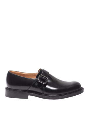 CHURCH'S: classiche - Monk strap Wrexham nere in pelle spazzolata