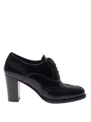 CHURCH'S: scarpe stringate - Modello Oxford con tacco in pelle spazzolata