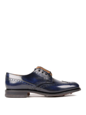 Church's: lace-ups shoes - Brogue detailed Derby blue shoes